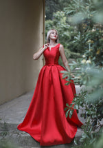 Long Satin Dress #5402 with cut in front. Dress for prom, wedding, bridesmaids, photoshoots