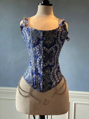 Classic brocade overbust corset inspired by Audrey Hepburn with shoulder straps. Steel-boned corset top for tight lacing. - Corsettery Authentic Corsets USA