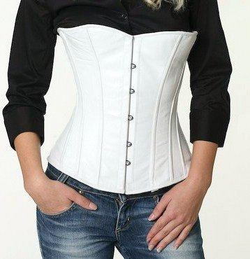 Real leather halfbust steel-boned authentic heavy corset, different colors, waist training corset. - Corsettery Authentic Corsets USA
