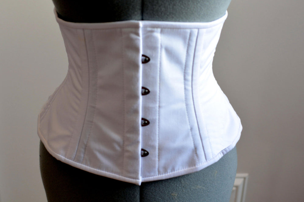 Real double row steel boned waist corset from cotton. Waist training fitness edition, vintage, everyday, tight lacing, steampunk, bespoke - Corsettery Authentic Corsets USA