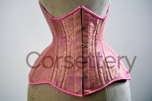 Double row steel boned underbust corset from pink and gold brocade. Real waist training corset for tight lacing. Gothic, steampunk corset - Corsettery Authentic Corsets USA
