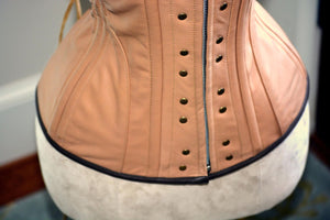 High quality hand dyed lambskin Ciri cosplay corset, steel boned made to measures cosplay exclusive corset, steampunk leather corset - Corsettery Authentic Corsets USA