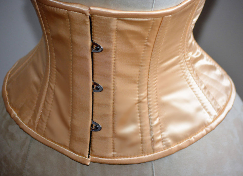 Short nude satin steelboned authentic waspie corset for tight lacing. Steel boned satin corset belt - Corsettery Authentic Corsets USA