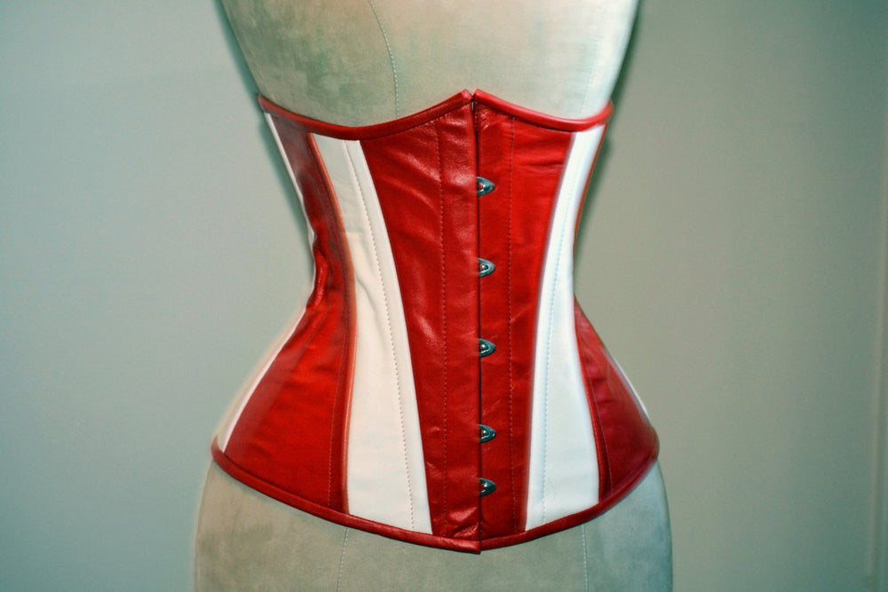 Hand dyed real leather Captain America red and white cosplay corset, steel boned made to measures exclusive corset, steampunk leather corset