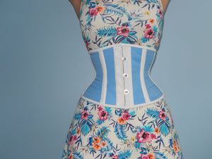 Real steel boned waspie corset from light blue cotton. Waist training fitness edition. Gothic, steampunk, custom made steel-boned corset