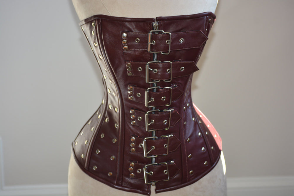 Steampunk and gothic style lambskin corset (brown and black). Alt, moto, fashion trendy overbust, real leather, metal, bdsm, bespoke corset.-Corsettery
