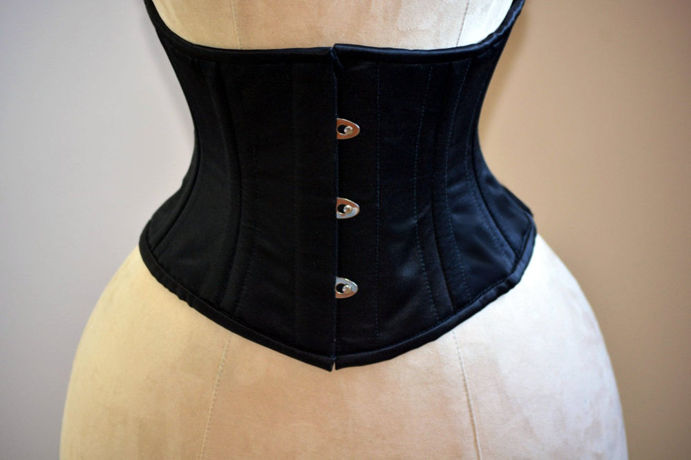 Classic satin steel-boned authentic waspie corset for tight lacing and waist training. Gothic, vintage. Sale from stock listing