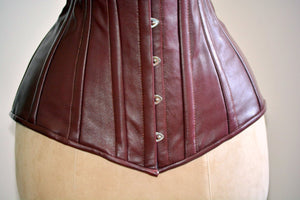 Long steel-boned corset, black, brown, white, red hand dyed lambskin. Gothic, steampunk, bdsm, authentic waist training corset for tall