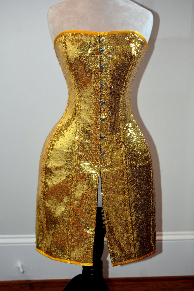 Exclusive shiny corset in caftan style, golden, silver, red, black available.-Corsettery