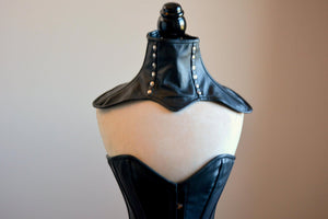 A real leather corsetted collar laced at the back, different colors available. Gothic, bdsm, vintage, burlesque, pinup, steampunk, prom - Corsettery Authentic Corsets USA