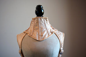 A satin and mesh corsetted collar laced at the back, different colors available. - Corsettery Authentic Corsets USA