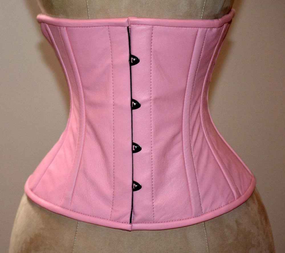 Real leather waist steel-boned authentic corset of the pale pink color. Corset for tight lacing and waist training, steampunk, gothic