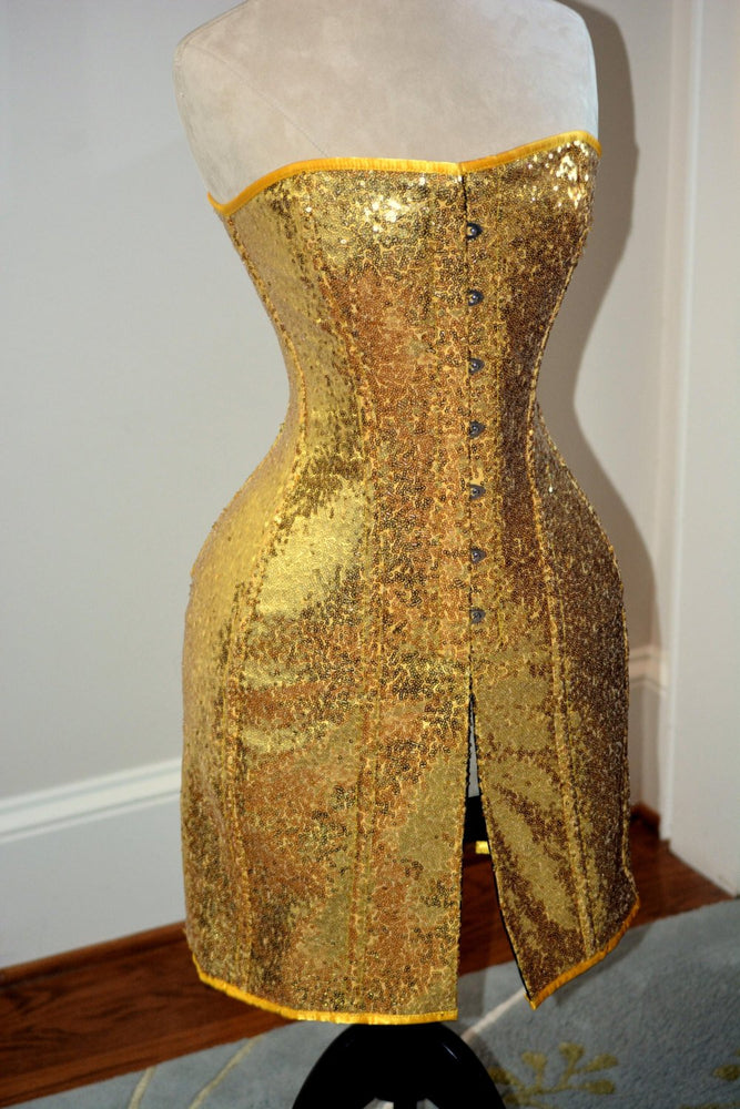 Exclusive shiny corset in caftan style, golden, silver, red, black available.