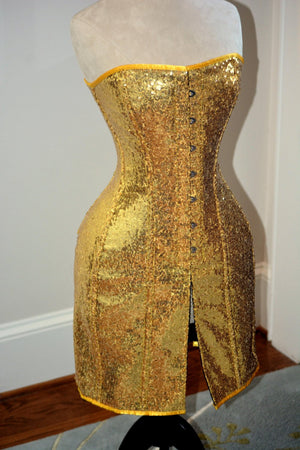 Exclusive shiny corset in caftan style, golden, silver, red, black available. - Corsettery Authentic Corsets USA