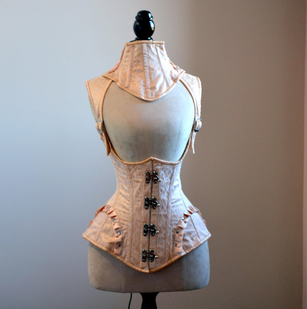 Vest corset in steampunk style with high back. Gothic Victorian, steampunk affordable corset