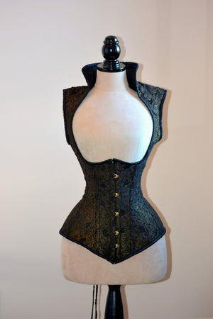 Vest corset in gothic style with high back. Gothic Victorian, steampunk affordable cheap corset, girlfriend's gift, historical corset