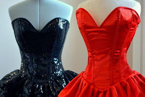 Authentic corset dress with fluffy skirt, siquins or satin fabric. Regular sizes on stock sale! Prom, Valentine, wedding dress-Corsettery