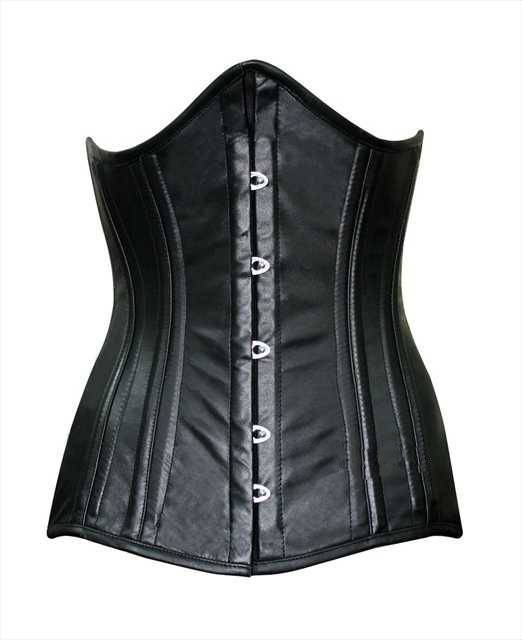 Authentic double row steel boned underbust corset from lambskin. Bespoke luxury waist training tight lacing corset. Gothic, steampunk corset - Corsettery Authentic Corsets USA