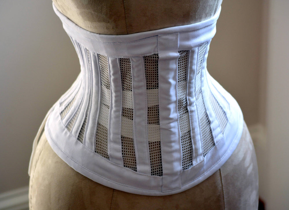 Real steel boned underbust corset from transparent mesh and cotton. Waist training corset for tight lacing. Summer edition bondage corset