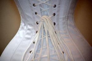 Authentic vintage overbust corset, black or white. Steelbone custom made cotton corset