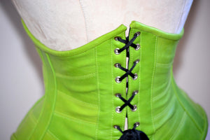 Authentic trendy steel boned underbust lambskin corset. Trendy fashion green belt from leather