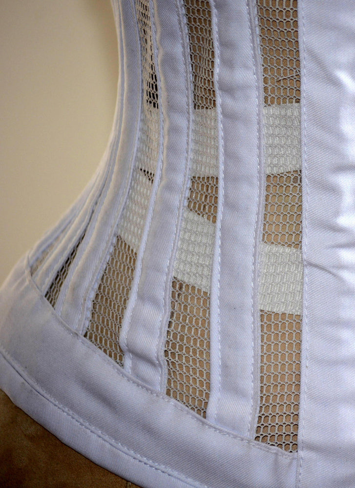 Real steel boned waist wide corset from transparent mesh and cotton. Waist training corset for tight lacing. Summer edition bondage corset - Corsettery Authentic Corsets USA