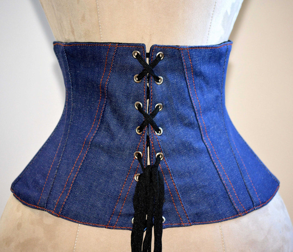 Trendy waspie belt corset from denim. Waist training fitness edition corset belt with laces in front, trendy summer corset-Corsettery