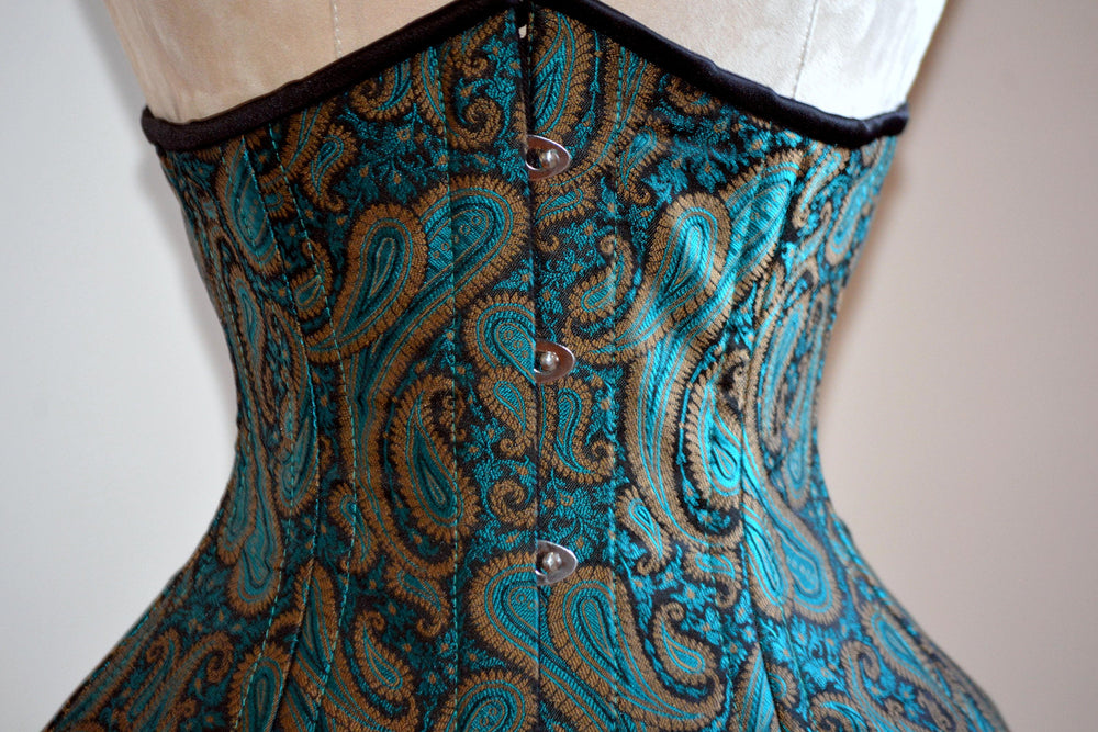 Steel boned underbust corset from green brocade made personally for you. Real waist training corset for tight lacing. Gothic, steampunk