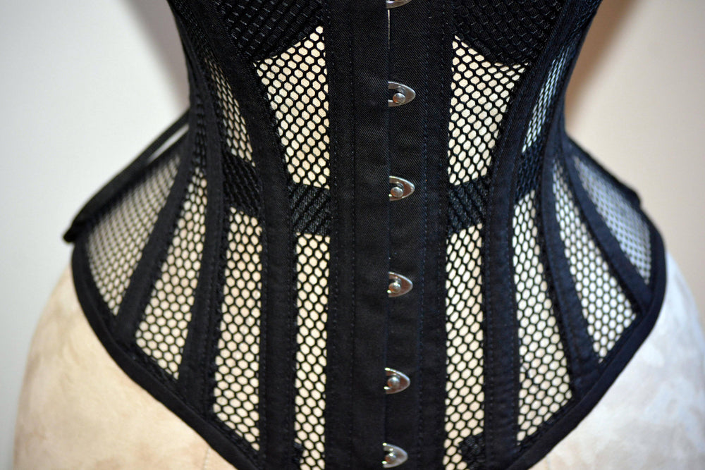 Overbust mesh authentic corset with cups. Gothic Victorian, steampunk affordable, historical corset - Corsettery Authentic Corsets USA