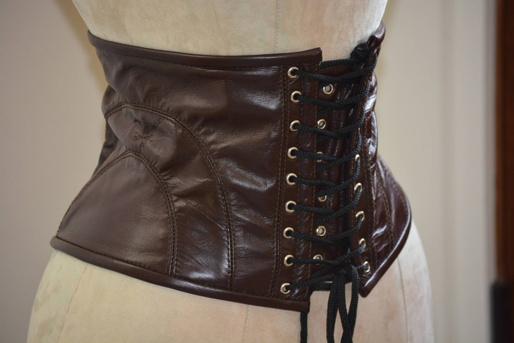 Cosplay waist corset belt from high quality lambskin on steel bones. Gothic, steampunk, sweet, valentine, gf gift corset belt - Corsettery Authentic Corsets USA