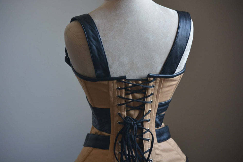 Cosplay Angel Dust corset from cotton and real black leather. Gothic, steampunk, convention, deadpool, historical Victorian, prom corset - Corsettery Authentic Corsets USA