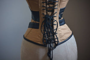 Cosplay Angel Dust corset from cotton and real black leather. Gothic, steampunk, convention, deadpool, historical Victorian, prom corset-Corsettery