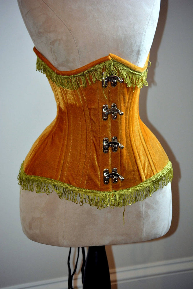 Real double row steel boned underbust velvet corset. Very hourglass waist training corset - Corsettery Authentic Corsets USA