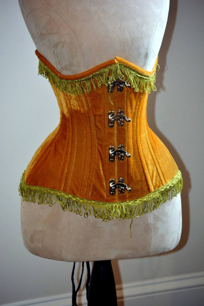 Double row steel boned authentic underbust velvet corset. Western collection Hourglass waist training corset, coachella, exclusive steampunk corset, burlesque - Corsettery Authentic Corsets U