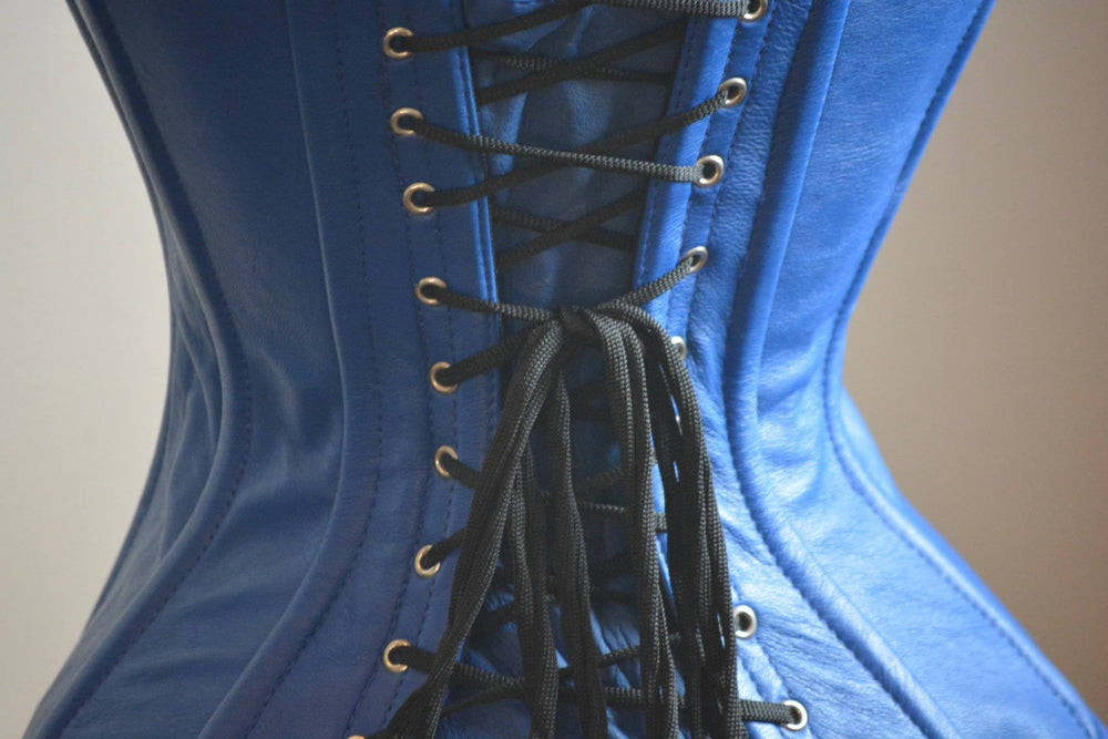 Hand dyed lambskin classic overbust steel-boned authentic heavy corset, blue color. Wedding, gothic, steampunk, gf'f gift corset-Corsettery