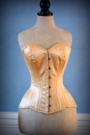 Luxury made to measures overbust authentic satin corset with long hip-line. Steel-boned corset for tight lacing, prom, gothic, wedding, valentine - Corsettery Authentic Corsets USA