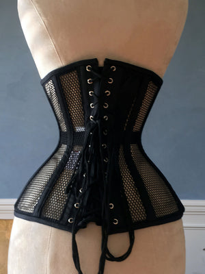 Black steel boned underbust corset from mesh. Authentic corset for tight lacing - Corsettery Authentic Corsets USA