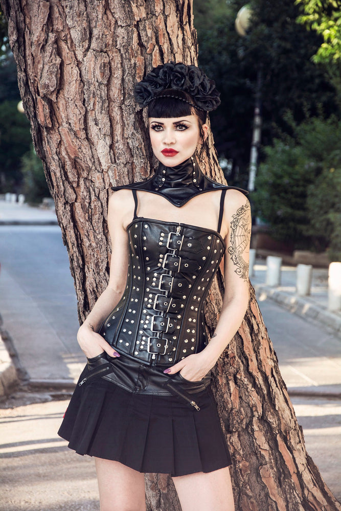 Steampunk and gothic style lambskin corset (brown and black). Alt, moto, fashion trendy overbust, real leather, metal, bdsm, bespoke corset.