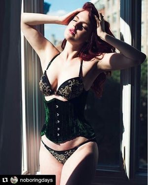 Real double row steel boned underbust velvet corset of short design with long hips-Corsettery