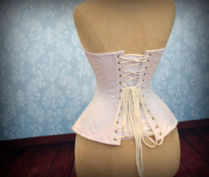 Cotton made to measures overbust authentic corset with long hip-line. Steel-boned corset for tight lacing, prom, gothic, wedding, valentine