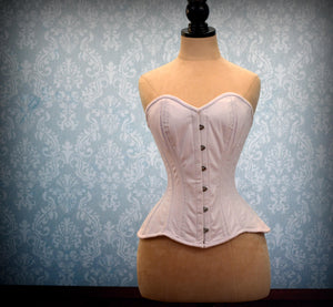 Cotton made to measures overbust authentic corset with long hip-line. Steel-boned corset for tight lacing, prom, gothic, wedding, valentine-Corsettery
