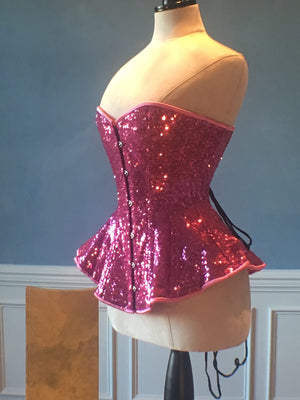 The Ramona Corset. Bespoke high quality authentic peplum style corset from sequins on steel bones-Corsettery
