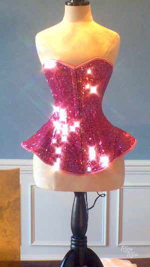 The Ramona Corset. Bespoke high quality authentic peplum style corset from sequins on steel bones - Corsettery Authentic Corsets USA