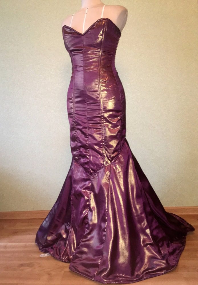 "Mermaid long shiny corset dress from ""liquid metal"" fabric. New Year and Christmas, prom dress, authentic made to measures corset"