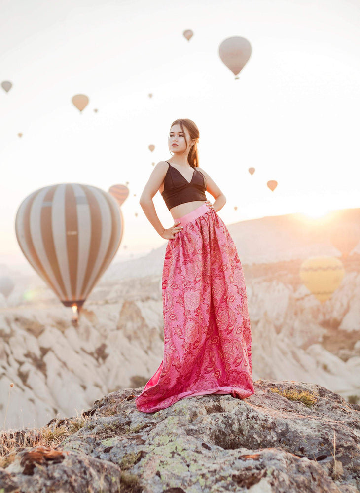 Just Breathtaking! Exclusive full shaped maxi skirt from thin exclusive floral pink brocade with gold. Skirt with trail or with cut.