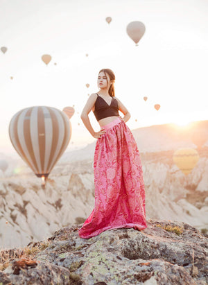 Just Breathtaking! Exclusive full shaped maxi skirt from thin exclusive floral pink brocade with gold. Skirt with trail or with cut. - Corsettery Authentic Corsets USA