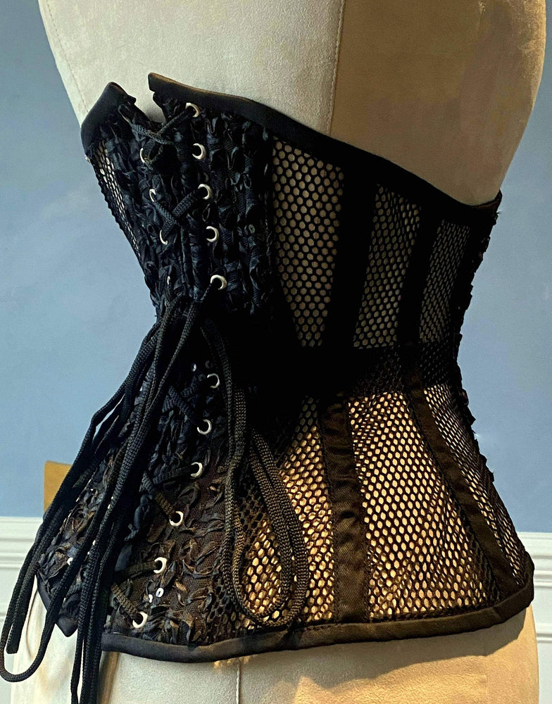 Real steel boned underbust corset from mesh wish emproided front and back. Waist training corset for tight lacing. Gothic, steampunk corset - Corsettery Authentic Corsets USA