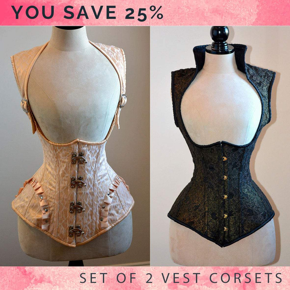The set of 2 vests with collars: gothic black and steampunk corsets. Victorian, steampunk cheap corset, girlfriend's gift, historical corset - Corsettery Authentic Corsets USA