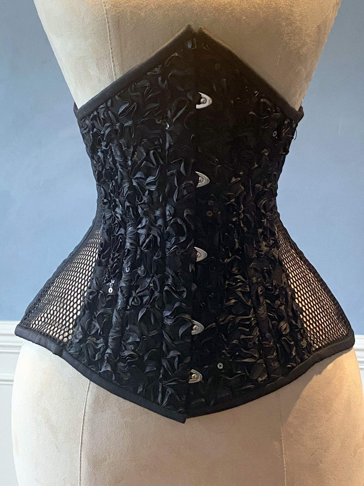 Real steel boned underbust corset from mesh wish emproided front and back. Waist training corset for tight lacing. Gothic, steampunk corset-Corsettery