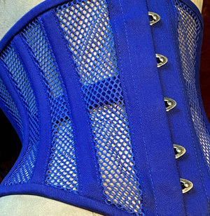 Real steel boned underbust corset from blue transparent mesh and cotton. Real waist training corset for tight lacing.-Corsettery